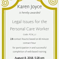 📚 2.8 credit hours~ Legal Issues for the Personal Care Worker 👵