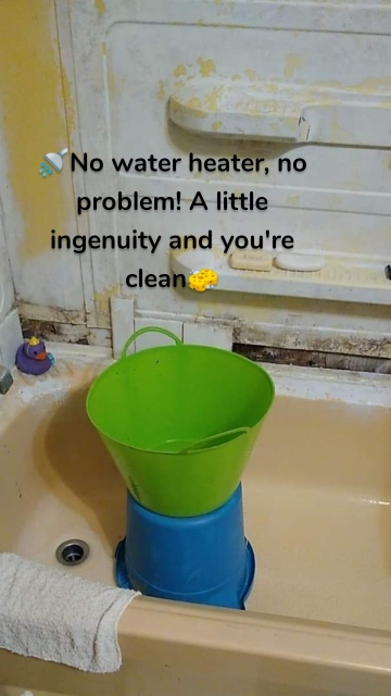 🚿No water heater, no problem! A little ingenuity and you're clean🧽