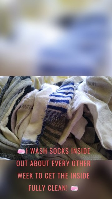 🧼I Wash socks inside out about every other week to get the inside fully clean! 🧼